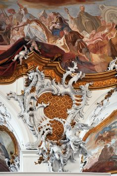 Integrated #rococo carving, #stucco and fresco, at the Abbey of #Zwiefalten (1739-1747) designer Johann Michael Fischer