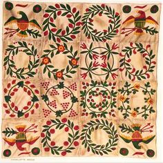 Watercolor of a sampler quilt by Charlotte Angus for the WPA and the Index of American Design, 1940 I collected a few eagle block . Sampler Quilts, Appliqué Quilts, Flower Quilts, Green Quilt, Antique Quilts, Japanese Art, Eagles, Quilt Blocks, Folk Art