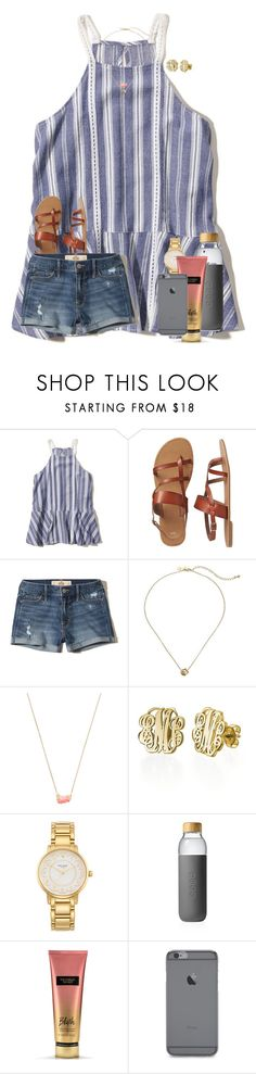 """🐝 happy..."" by preppy-renee ❤ liked on Polyvore featuring Hollister Co., Gap, Kate Spade, Kendra Scott, My Name Necklace, Soma and Victoria's Secret"