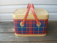 Vintage 1950's Red, Blue & Tan Plaid Tin Picnic Basket with Swing Handles