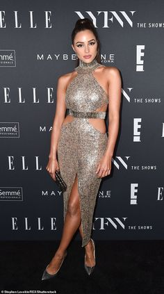 Jetlag cure: On Tuesday, shortly after arriving in the city, the former Miss Universe winner admitted she was suffering with jet lag - but quickly turned to champagne as a means to combat the problem Gold Dress, Lace Dress, Dress Up, Olivia Culpo Miss Universe, Miss Universe Dresses, Chic Outfits, Fashion Outfits, Thing 1, Red Carpet Looks