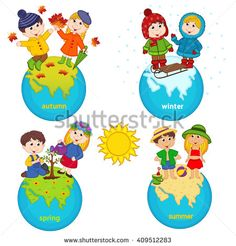 children and four seasons on the planet - vector illustration, eps Four Seasons Art, Four Seasons Hotel, Diy Crafts To Do, Crafts For Kids, Opposites For Kids, Planet Vector, Leaf Crafts, Three Year Olds, Birthday Board