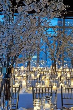 winter wedding candle lighting  ideas with tree branches