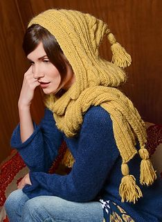 We just love this hooded scarf in all natural fibres, knitted in fancy rib, stocking stitch, reverse stocking stitch and cable stitch on 5.5 mm needles.