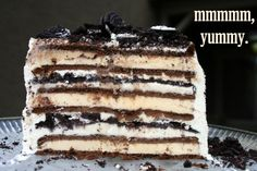"3-Ingredient Ice Cream Sandwich Cake: ""This makes a delicious dessert that looks great! I originally saw it in Woman's Day, and they used Whoppers candy, but I used Oreos in mine."" -Sherri35"