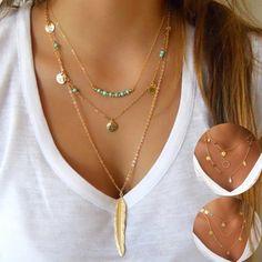 Kittenup Goud Kleur Zilver Kleur fashion ketting kralen metalen schijven sieraden hangers multi layer ketting kettingen voor vrouwen