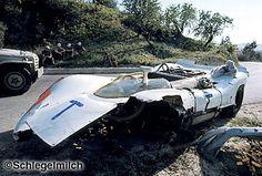 Targa Florio - Vic Elford Porsche 908/2 aux essais de la Targa Florio 1969.