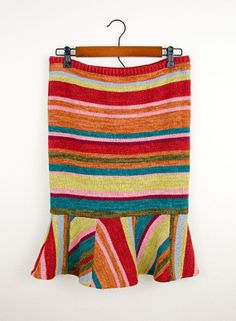 Jewel Stripe Upcycled Sweater Skirt Size Md/Lg by PetCloud on Etsy, $45.00