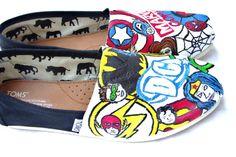 The Heroes  Superheroes Custom TOMS by FruitfulFeet on Etsy, $175.00