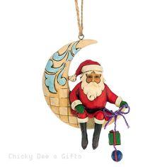 Jim Shore Heartwood Creek Crescent Moon Santa Hanging Ornament 4047786 NIB 2015