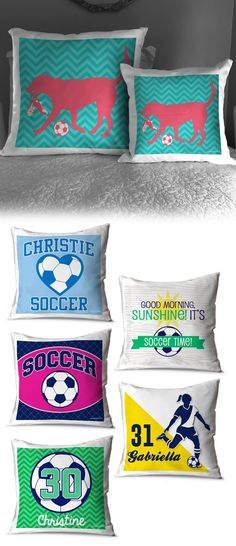 Do you know a soccer girl that would love to cover her bed in these soccer throw pillows? With personalized and custom options available, we're sure your favorite soccer player will find the perfect fit for their personal style! Soccer Room Decor, Soccer Bedroom, Soccer Theme, Top Soccer, Girls Soccer, Soccer Stars, Soccer Workouts, Soccer Drills, Good Soccer Players
