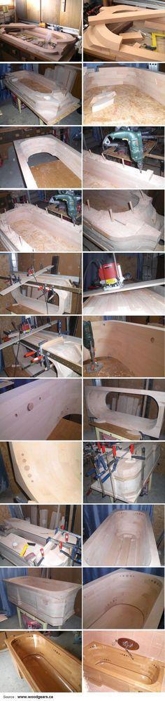 Construcción de tina en madera