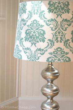 Love the idea of stencilling onto a pillowcase but why not follow through with the lampshades...
