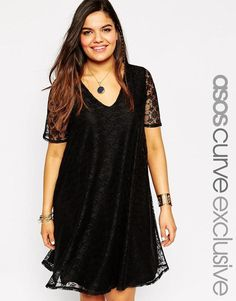 ASOS Curve | ASOS CURVE Swing Dress In Lace With Deep V In Longer Length at ASOS