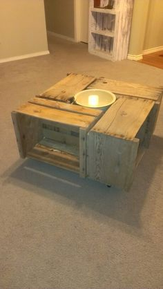 Apple crates make a rustic coffee table