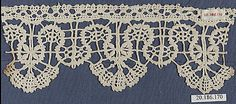 Fragment of lace edging, (linen?) bobbin lace, 17th century, Genoese. Metropolitan Museum of Art accession no. 20.186.170