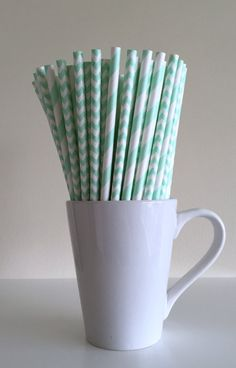 Mint Green Striped and Chevron Paper Straws by PuppyCatCrafts