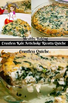 This is a simple and easy recipe for crustless kale artichoke ricotta quiche. The ricotta is a clever way to skip the extra calories and still provides the thickness needed to make this quiche creamy and melt in the mouth. The kale and and artichoke is packed with flavor and nutrition.