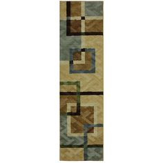 The subtle brown and bluish grey tones soften the bold pattern of this area rug.  This rug is stain and fade resistant making it a must for any room.
