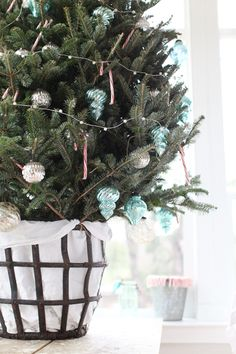 Antique French Metal Wine Basket - turquoise ornaments like this for living room tree.