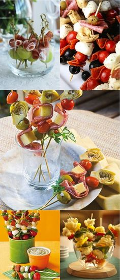 1 block mozzarella cheese 16 Genoa salami slices 1 can small artichoke hearts, drained and halved 1 pint grape tomatoes 1 jar large pitted Spanish olives, drained 16 wooden skewers 1 bottle balsamic-basil vinaigrette 1 tablespoon fresh lemon juice