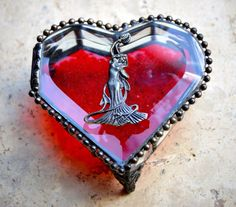 Art Nouveau Stained Glass Jewelry Box Heart by StainedGlassbyJean