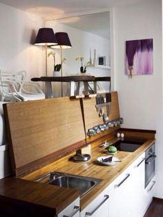 Small Studio Apartment Kitchen chic compact kitchen for a small space - a great idea for a studio