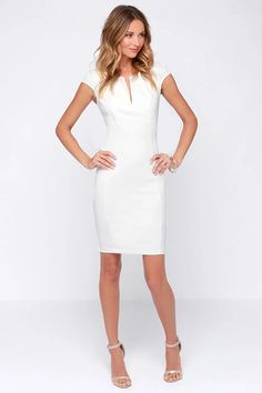 You'll be pretty and posh in the Top Notch Ivory Midi Dress! Dress this slimming knit dress up or down and enjoy the notched neckline and midi skirt. Knit Dress, Dress Skirt, Dress Up, Bodycon Dress, Fashion Mode, Look Fashion, Ivory Dresses, Lulu's Dresses, Casual Dresses