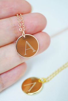 Personalized initial monogram necklace from EarringsNation Rose gold gift ideas