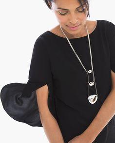 Chico's Women's Tulip Sleeve Top in Black