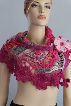 Freeform  Crochet Scarf   Wedding Scarf  Wearable by levintovich, $110.00