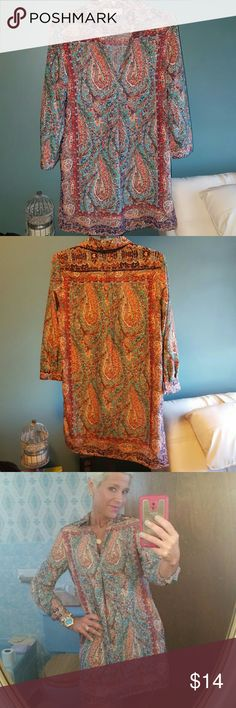 Silk dress Multi colored silky fabric material. Can wear alone with heels or pair with a navy blue legging ir dark skinny jeans to make as a long top! This piece can be worn through multiple seasons very well! Philosophy Dresses Long Sleeve