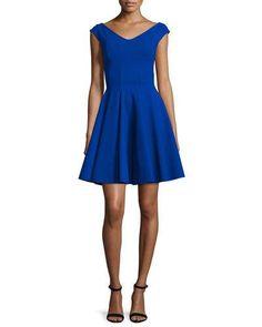 09e626dd3626a Tulip-Skirt Split-Neck Party Dress, Cobalt by Halston Heritage at Neiman  Marcus.