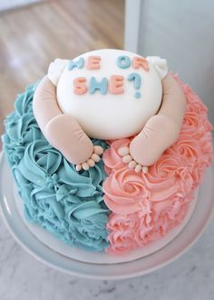 Gender reveal cake by Half Baked Co.