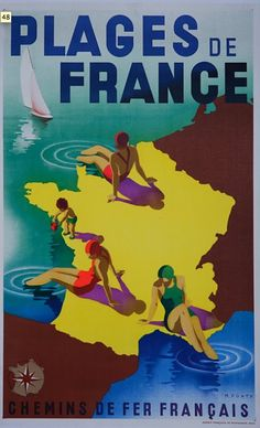 Vintage travel  Poster Plages  de France