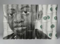 "Amazing artwork from Phil Hansen of a Ugandan boy named Daudi. Made out of the ""The Way I See It"" cups."