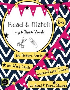 """Students will practice decoding short and long vowel words with these easy printables. Options include matching the picture and word cards or reading the simple cut and paste sentences. This is a great resource for Morning Work or Centers. Includes: -20 """"Sticky Reading"""" Cut and Paste Sheets: Read and Match Pictures (10 short vowel and 10 long vowel) -100 Picture and Word Cards (50 short vowel and 50 long vowel) -Exit Ticket: Can be used during centers or"""