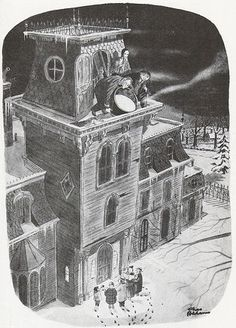 Charles Addams' original drawing that was later used as the inspiration for the beginning of the Addams Family movie.