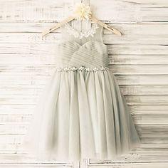 Princess+Grey+Beaded+Sash+Knee-length+Flower+Girl+Dress+-+Tulle+Sleeveless+–+USD+$+59.99