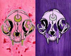 Fighting Evil by Moonlight- Cat Skulls- Pink Purple Sailor Moon Inspired Prints