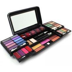 Gezien op beslist.nl: Merkloos Make-up set 51-delig 24 verschillende kleuren oogschaduw + 5 poeder blush + 5 lippenbalsem + 4 lipgloss + 4 applicators + 4 borstels + 2 gezicht poeders + 1 mascara + 1 eyeliner + 1 oogpotlood + 1 kam en 1 spiegel