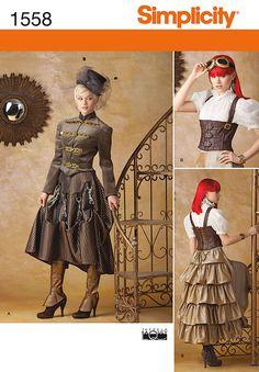 Simplicity Schnittmuster 1558-Misses'Steampunk viktorianische Kostüme, Größen: 40-48: Amazon.de: Küche & Haushalt