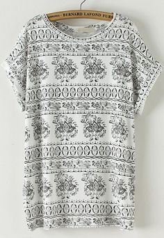 Black Short Sleeve Vintage Totem Print T-Shirt.