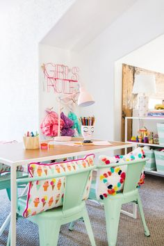 A kids playroom crafting area.