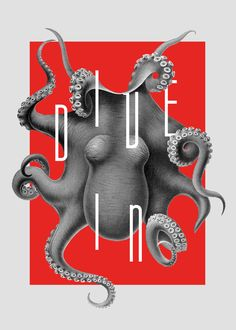 Octopus Poster #poster #octopus #typography #red #graphicdesign #collage #animal #art #digital #behance https://www.behance.net/antoniukiza