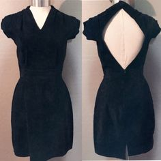 Final Price| Vintage suede sexy club LBD Vintage suede little black dress. Must have staple piece! Great condition! Vintage Dresses