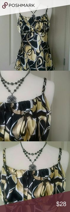 B Wear Top Gorgeous swirl of chocolate brown,  gold and black color. It has braided straps and gathers at the bust. B Wear Tops