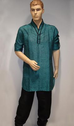 G3 Fashions Turquoise Linen Short Pathani Kurta  Product Code : G3-MSP999 Price: INR RS 3845