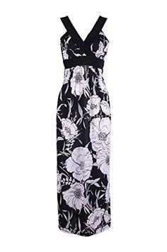 19d50c5610116 2LUV Women s Exotic Floral Prints Maxi Beach Dress Black S (D8857-D) 2LUV