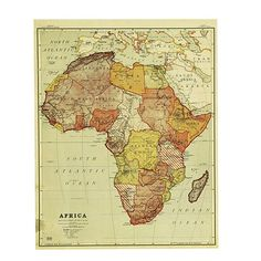 Africa map africa vintage continent 1930s original 1935 africa each of these grandly scaled world map print canvases was reproduced from an actual 1937 map used in american classrooms to teach geography gumiabroncs Image collections